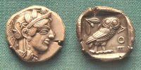 starověká stříbrná athénská mince
