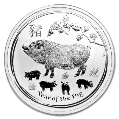 Stříbrná mince Year of the Pig - Rok Vepře 1 oz (2019)